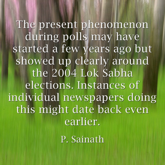 P. Sainath on paid media during polls