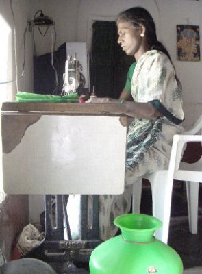 Parvati Mallappa brings up her three young daughters alone. She has taught herself tailoring and is also earning by teaching sewing to girls in her village.