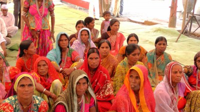 Women farmers of Bhamraja village in Yavatmal district, Maharashtra, gather for a meeting in their village with visiting members of the Parliamentary Standing Committee on Agriculture
