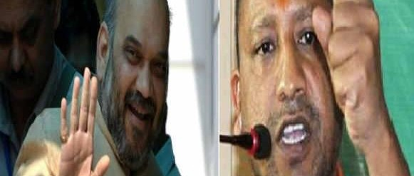 Amit Shah and Yogi Adityanath - two key BJP leaders who set the election campaign tone in UP